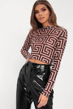 Black/Neutral Printed Mesh High Neck Crop Top