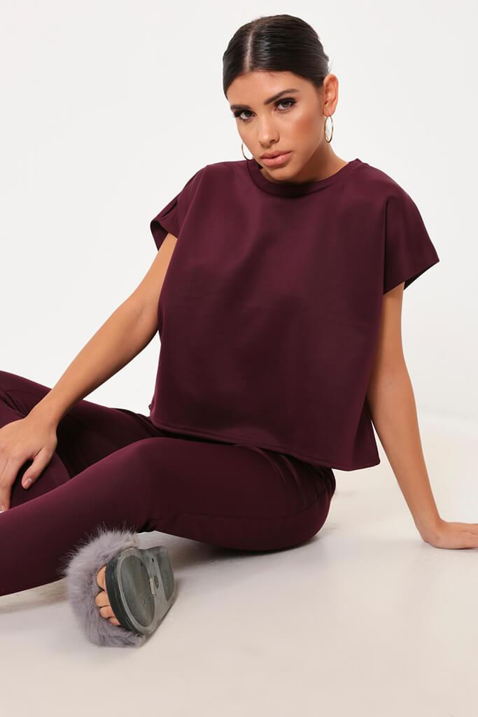 Berry Cropped Ponte T-Shirt view main view
