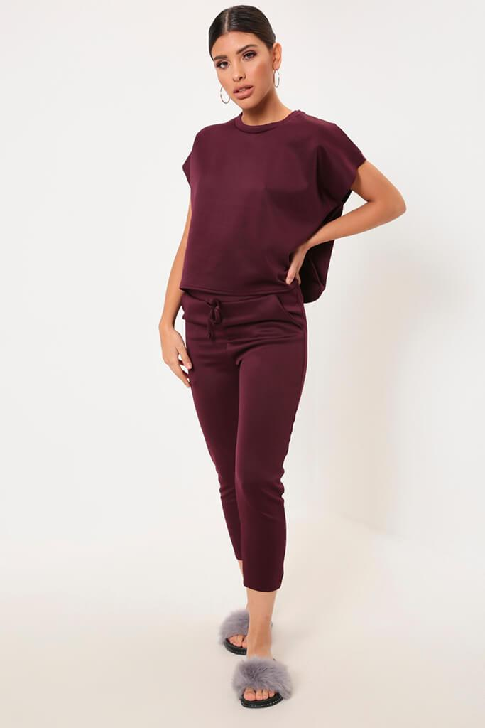 Berry Cropped Ponte T-Shirt view 2