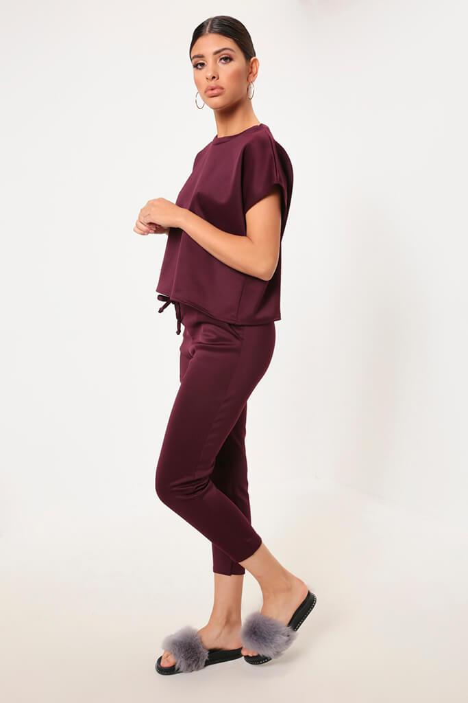 Berry Cropped Ponte T-Shirt
