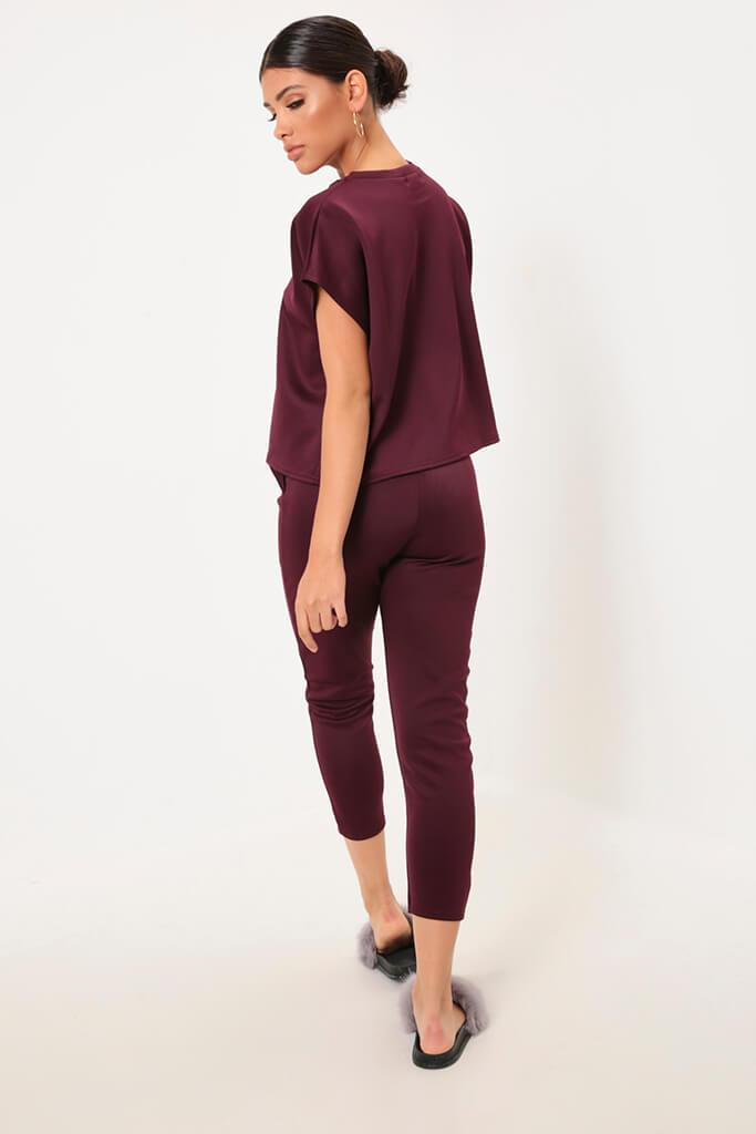 Berry Cropped Ponte T-Shirt view 5