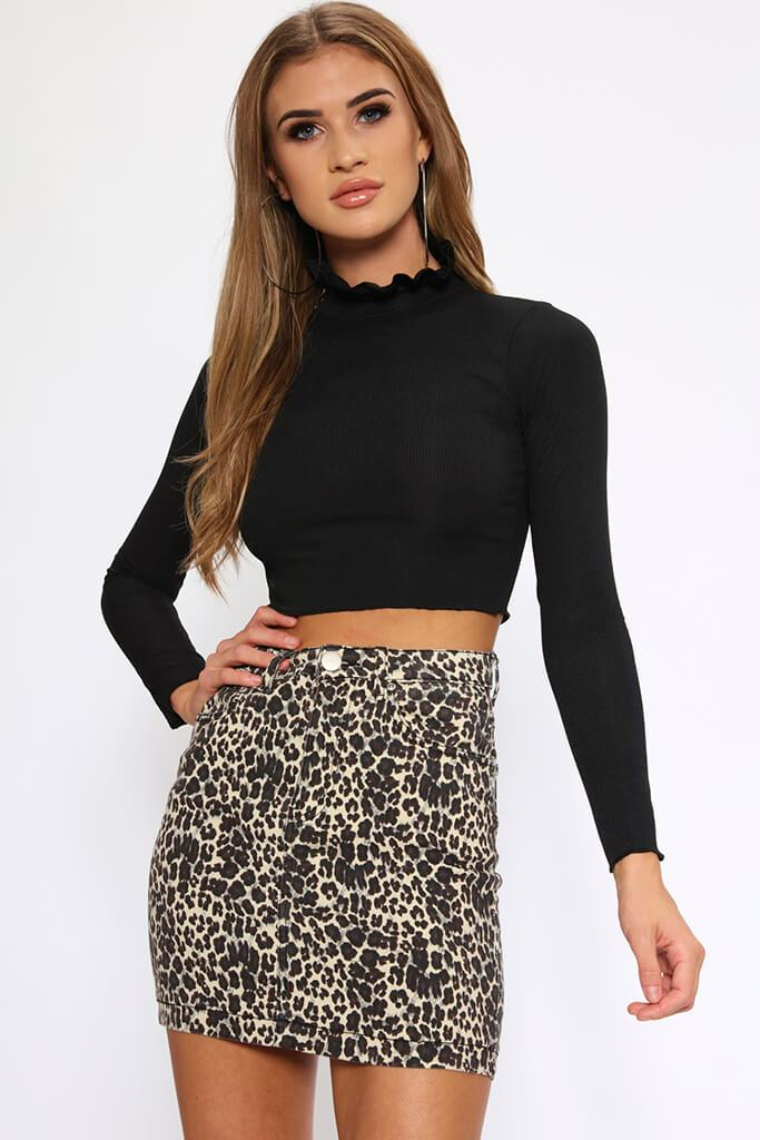 Black Ruffle Neck Ribbed Crop Top