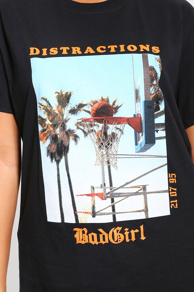 Black Bad Girl Graphic Oversized T-Shirt view 4