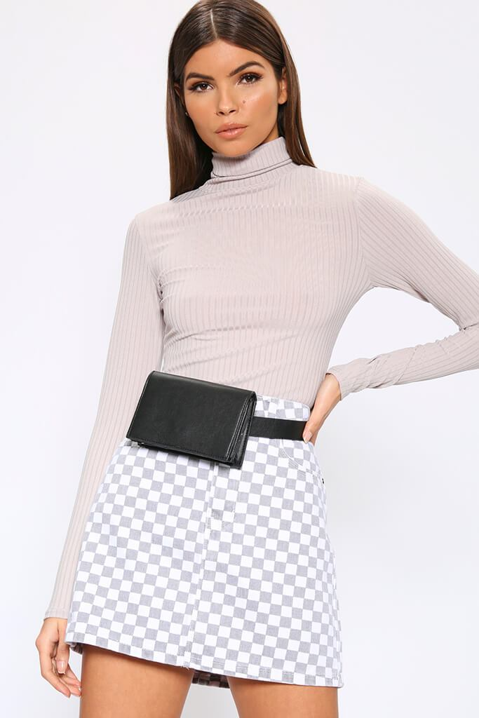 Grey Roll Neck Long Sleeve Jumbo Ribbed Top view main view