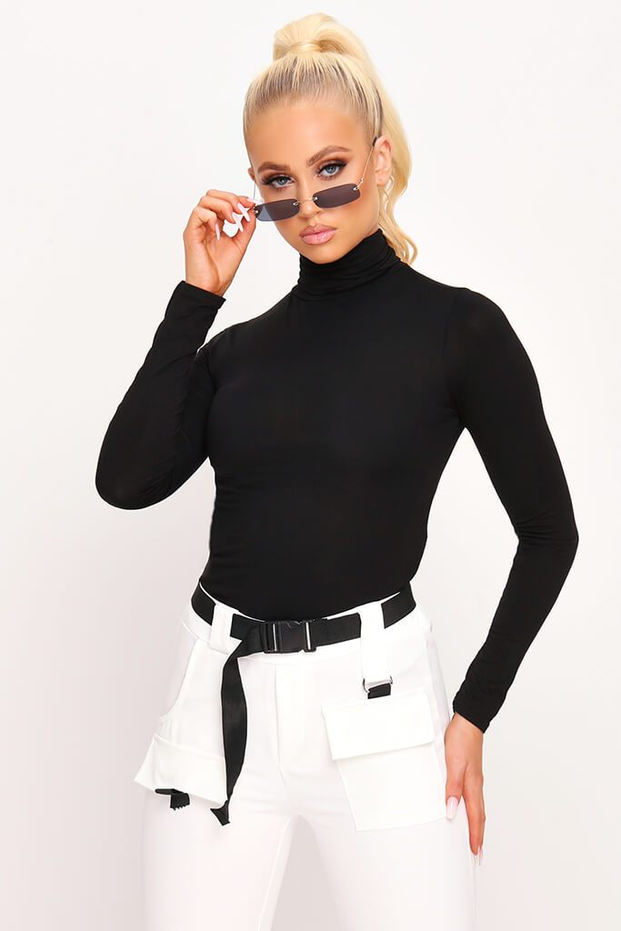 Black Jersey Roll Neck Long Sleeve Top