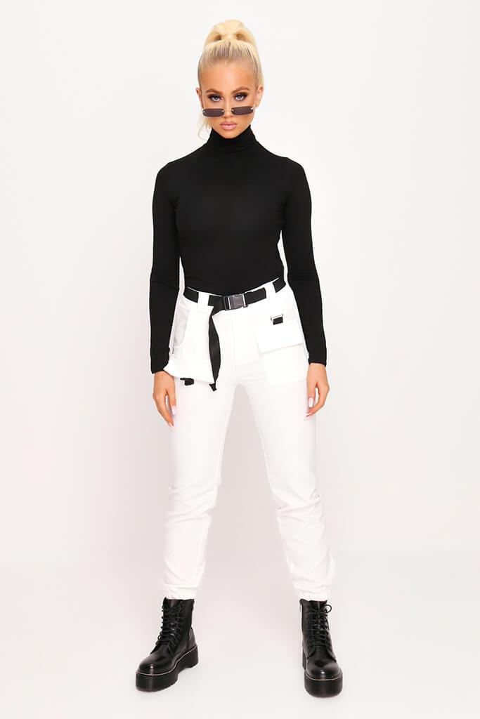Black Jersey Roll Neck Long Sleeve Top view 2