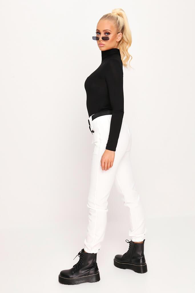 Black Jersey Roll Neck Long Sleeve Top view 3