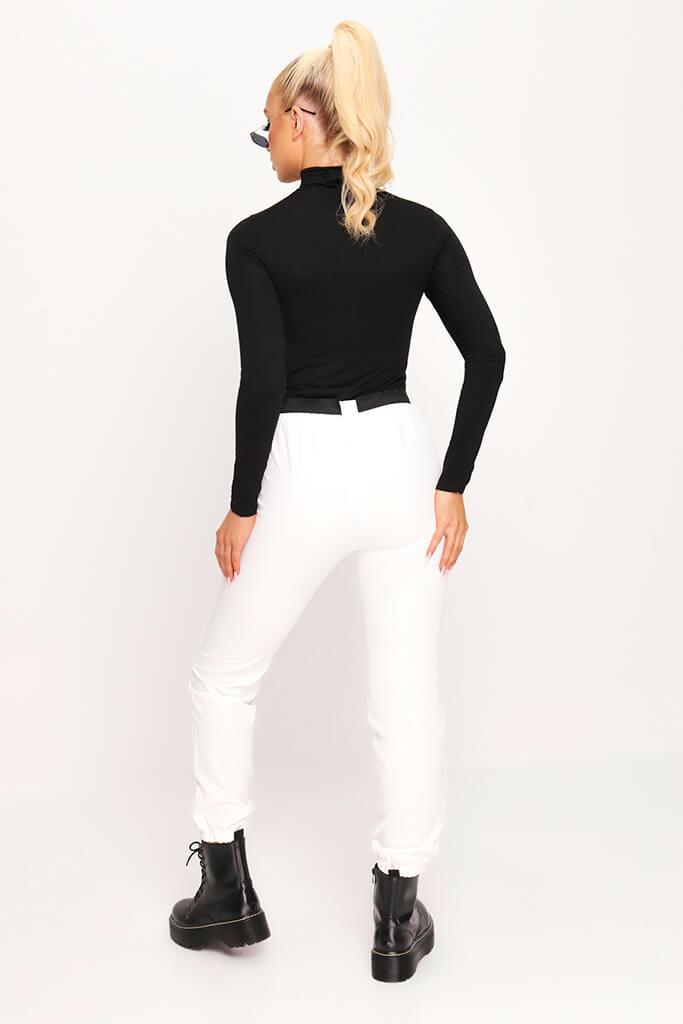 Black Jersey Roll Neck Long Sleeve Top view 5