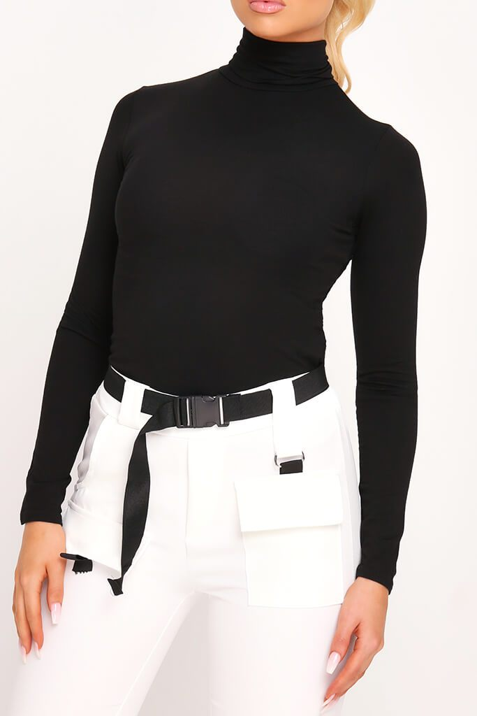 Black Jersey Roll Neck Long Sleeve Top view 4