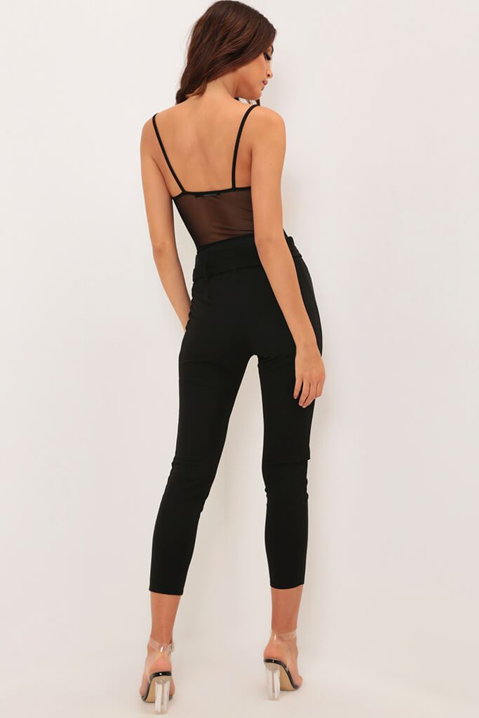 Black Cup Detail Sheer Panel Bodysuit