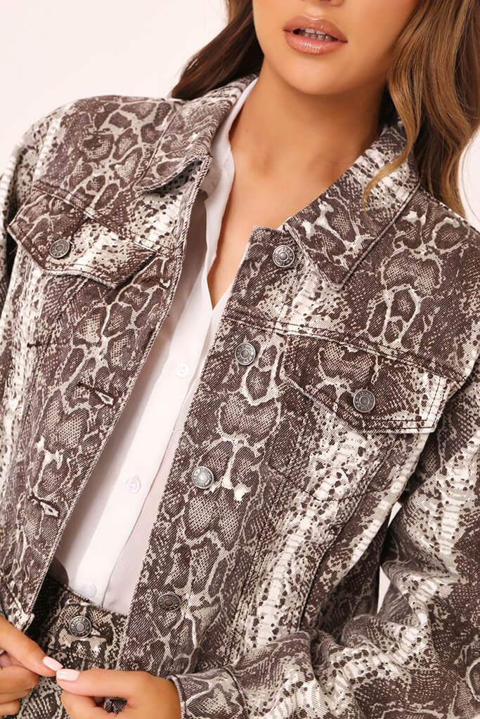 Brown Snake Print Denim Jacket view 4