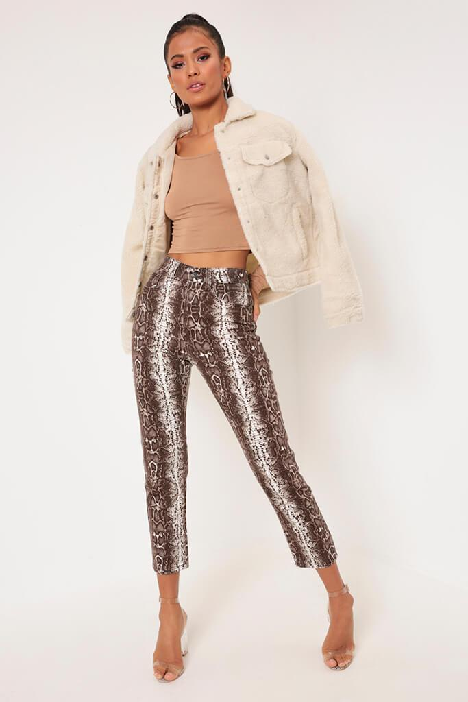 Brown Snake Print Denim Jeans