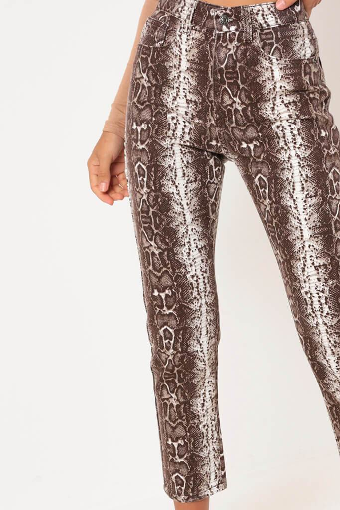 Brown Snake Print Denim Jeans view 3