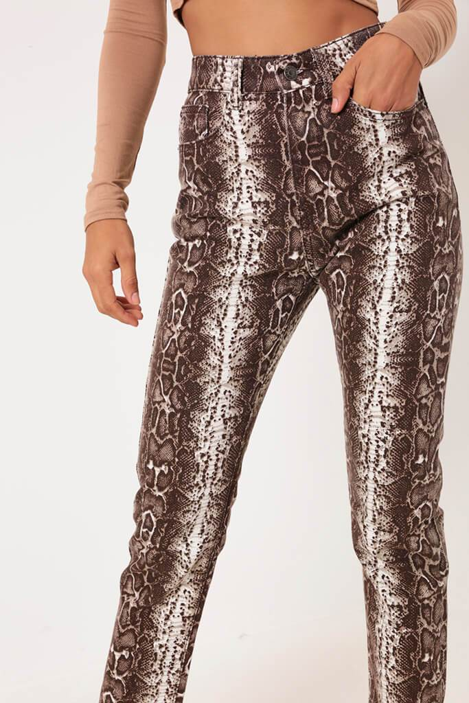 Brown Snake Print Denim Jeans view 2