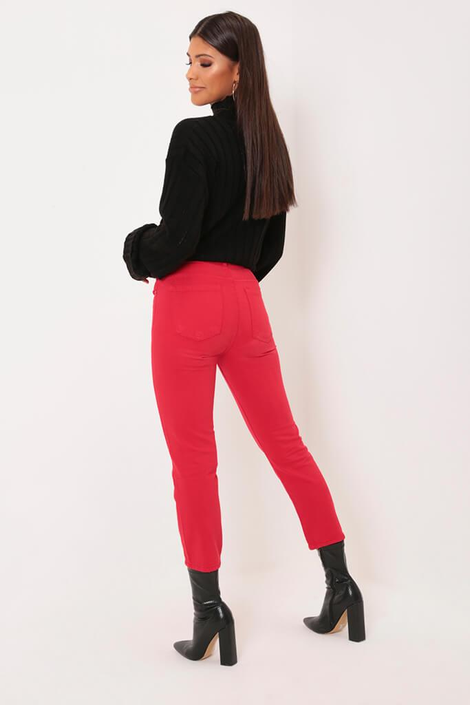 Red Cropped Wide Leg Jeans view 5