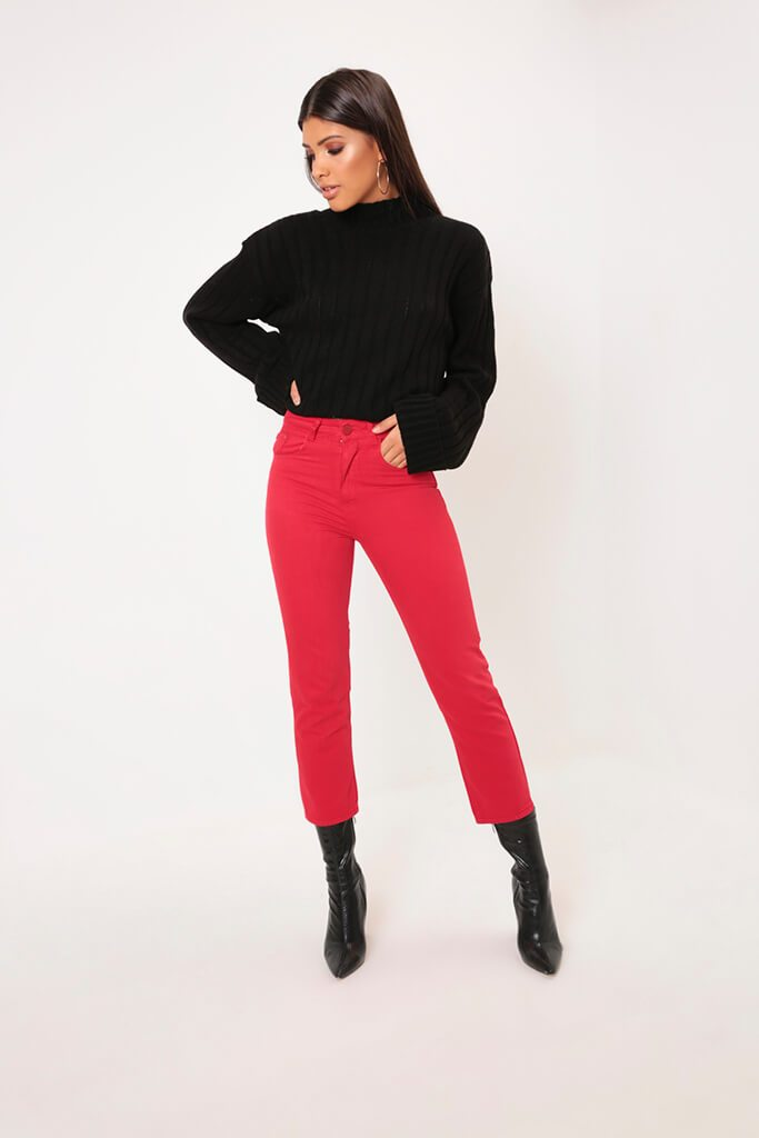 Red Cropped Wide Leg Jeans