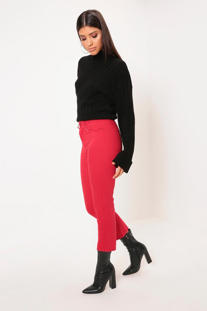 Red Cropped Wide Leg Jeans view 3