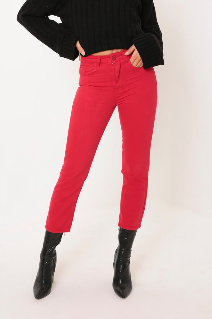 Red Cropped Wide Leg Jeans view 2