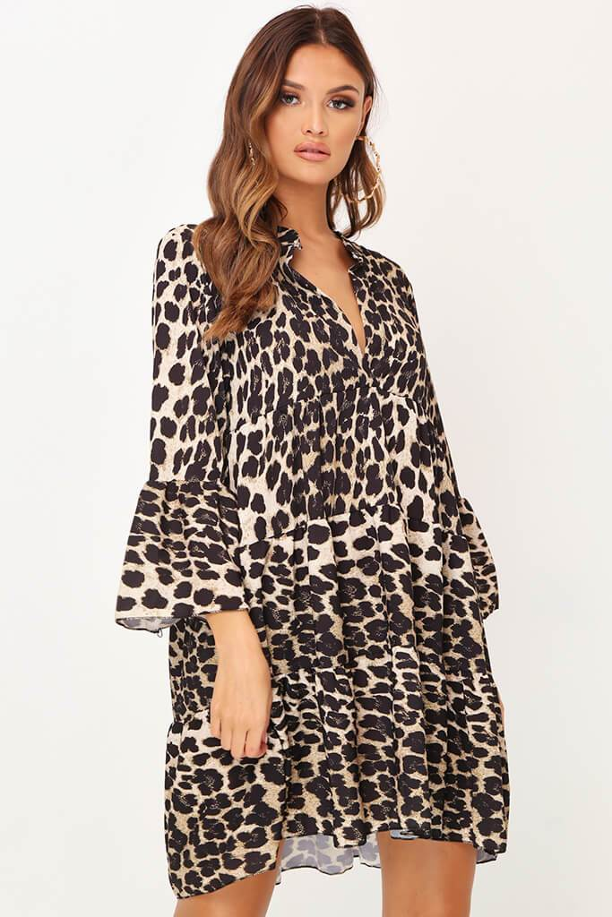 Leopard Print Plunge Shift Dress view main view