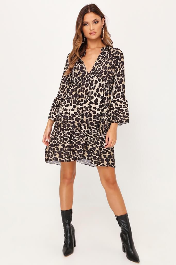Leopard Print Plunge Shift Dress view 2