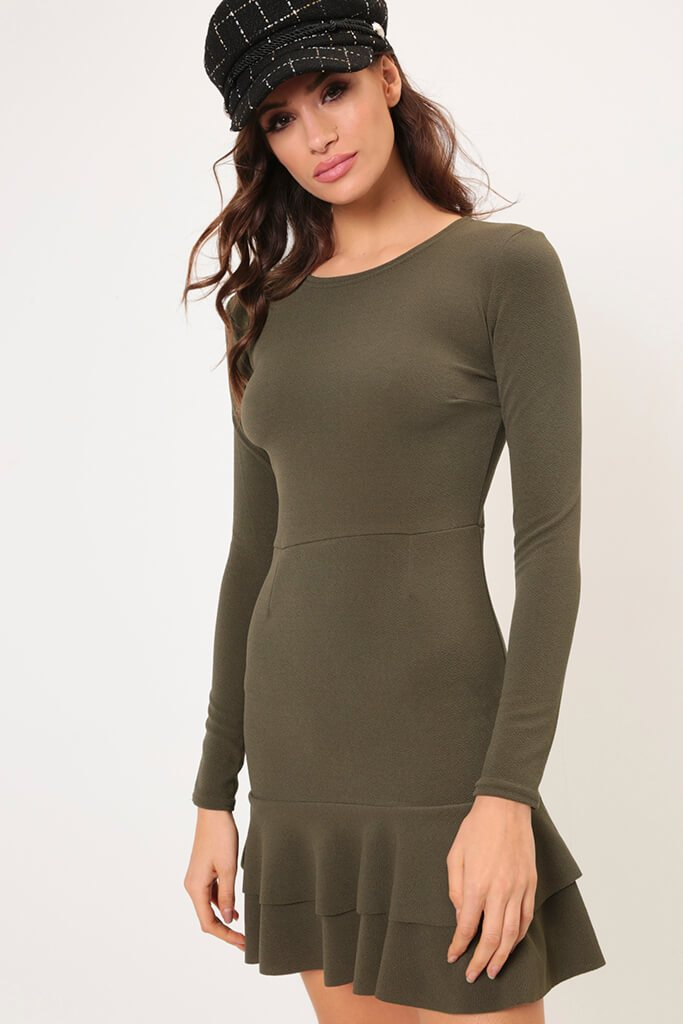 Khaki Frill Hem Dress view main view