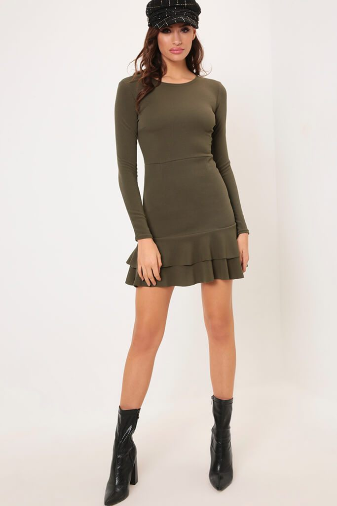 Khaki Frill Hem Dress view 2