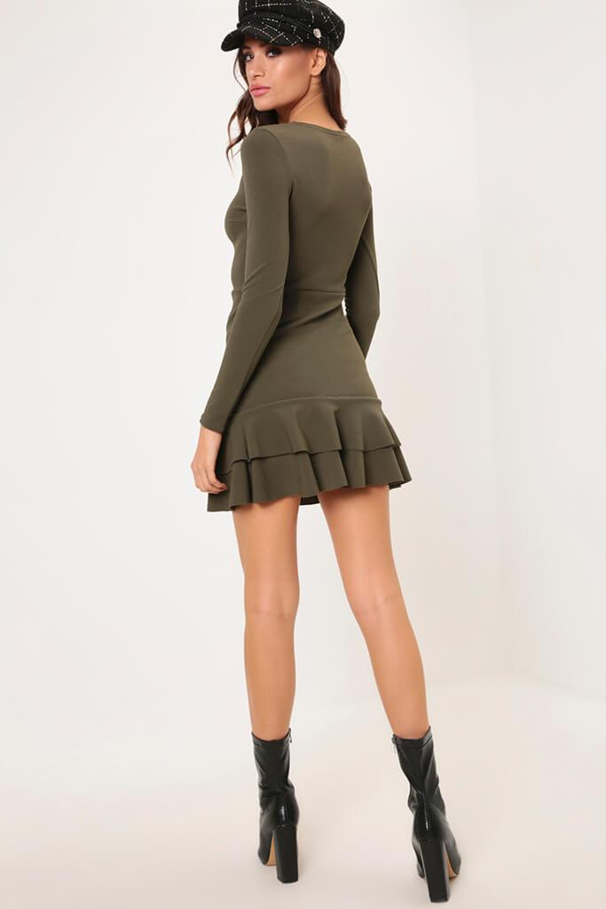 Khaki Frill Hem Dress view 5