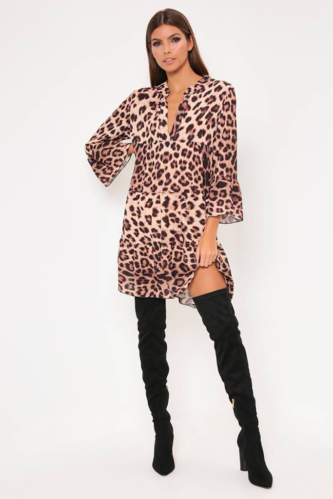 Leopard Print Flared Sleeve Smock Dress view 2