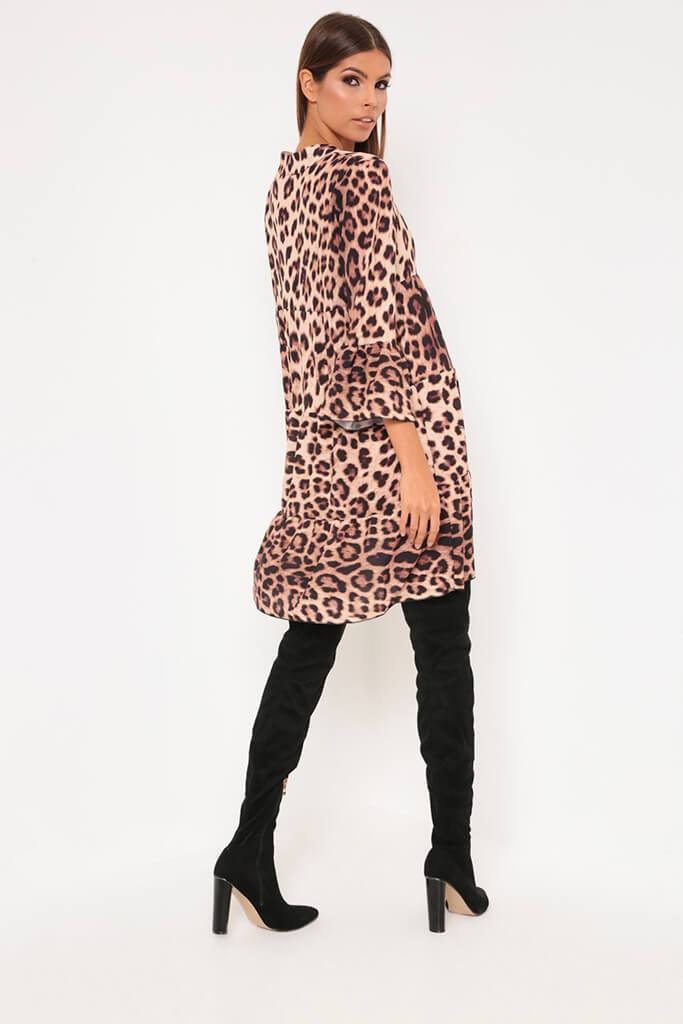 Leopard Print Flared Sleeve Smock Dress view 5