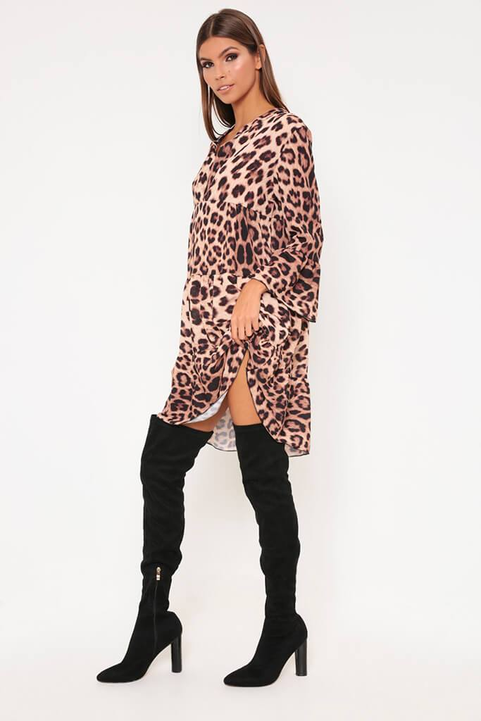 Leopard Print Flared Sleeve Smock Dress view 3