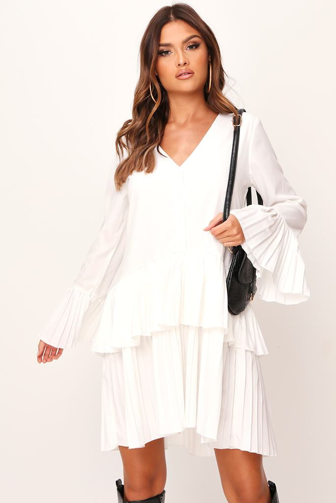 White Pleated Swing Dress view 2