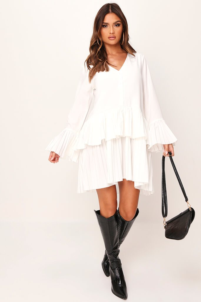 White Pleated Swing Dress