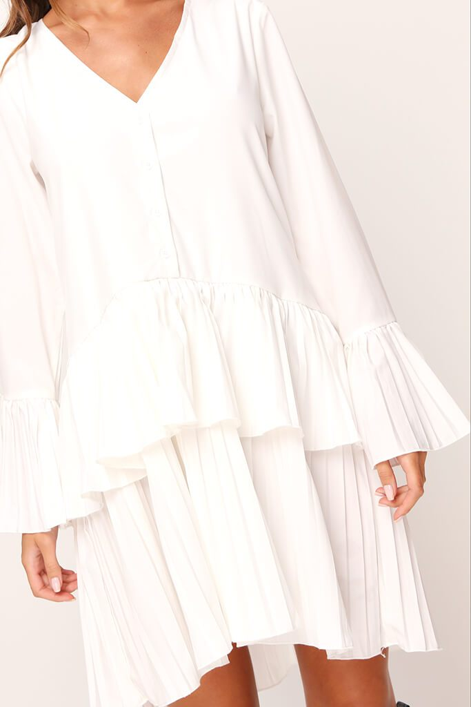 White Pleated Swing Dress view 3