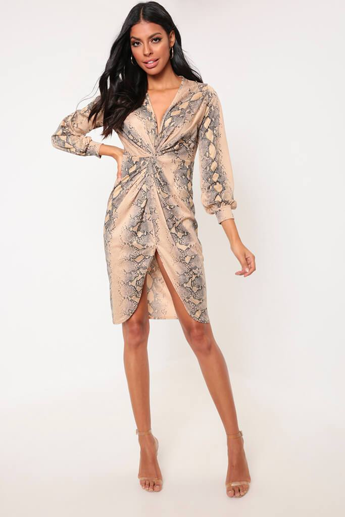 Snake Knot Front Midi Dress With Split view main view
