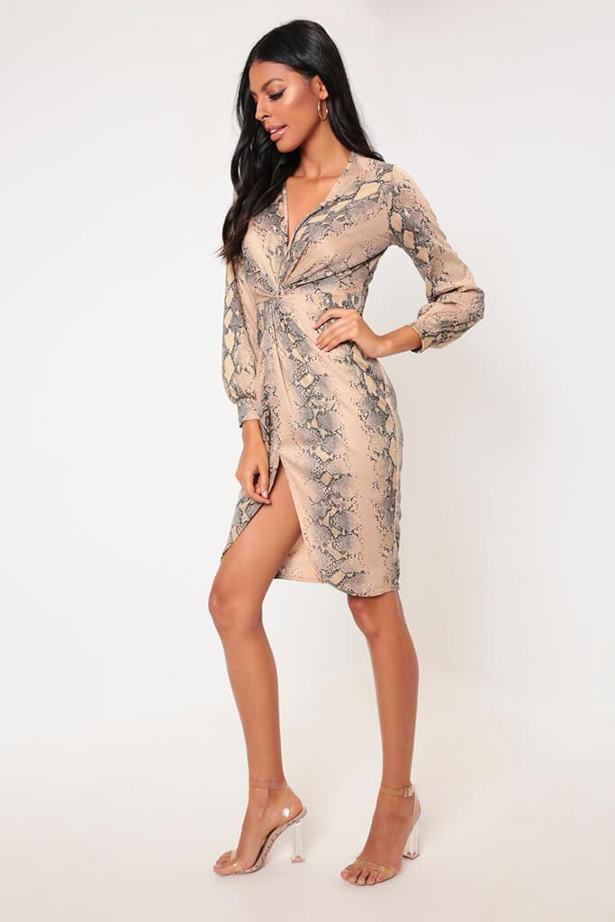 Snake Knot Front Midi Dress With Split view 4