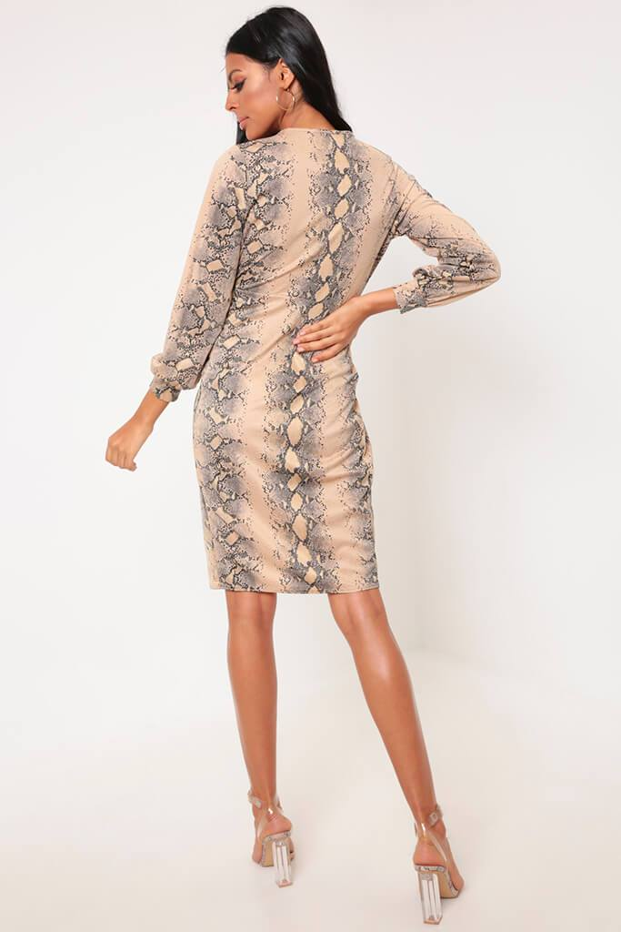 Snake Knot Front Midi Dress With Split view 5