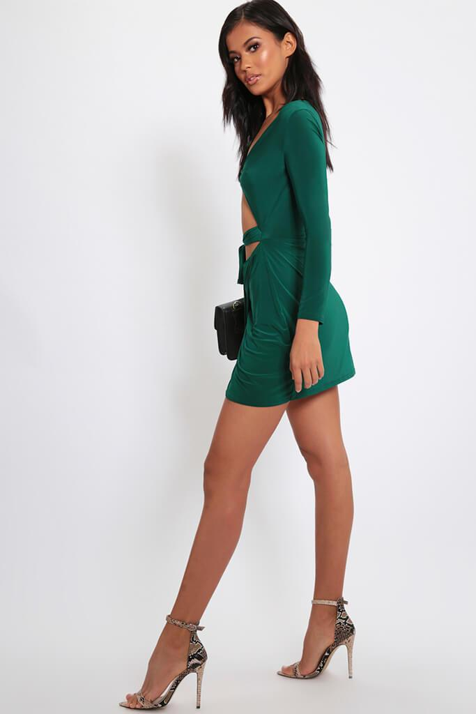 Green Twist Front Wrap Skirt Mini Dress view 3