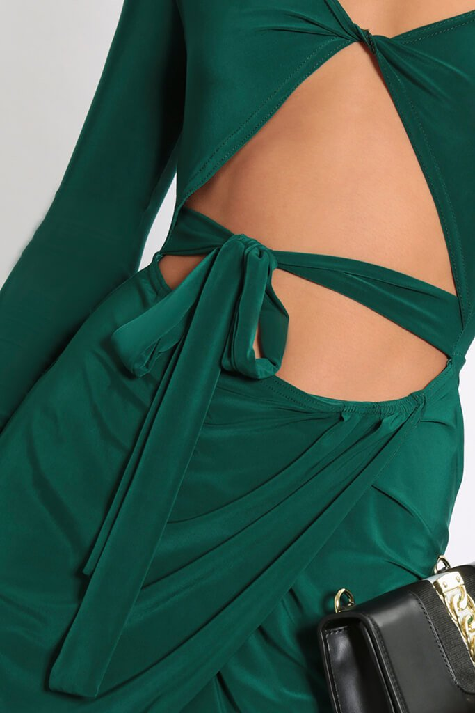 Green Twist Front Wrap Skirt Mini Dress view 4