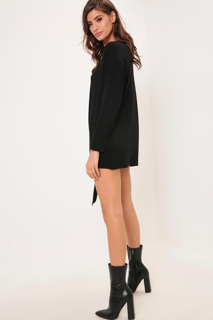 Black Long Sleeve Tie Front Hem Dress view 3