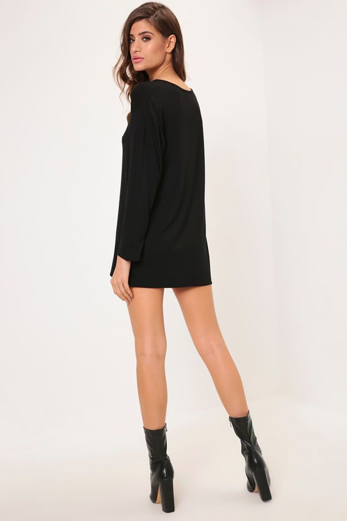 Black Long Sleeve Tie Front Hem Dress view 5