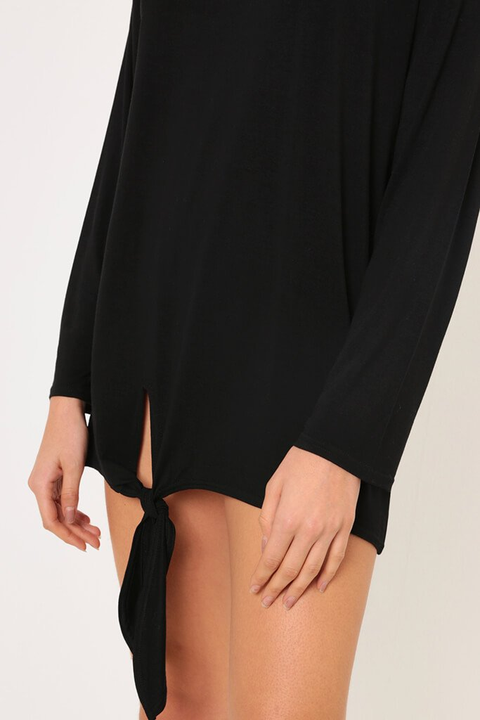 Black Long Sleeve Tie Front Hem Dress view 4