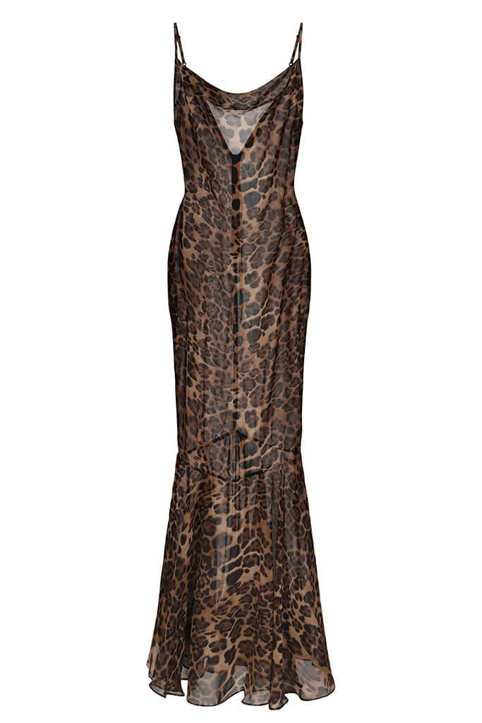 Leopard Print Sheer Maxi Dress view 2