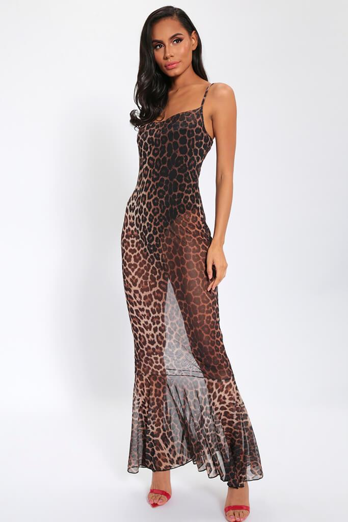 Leopard Print Sheer Maxi Dress