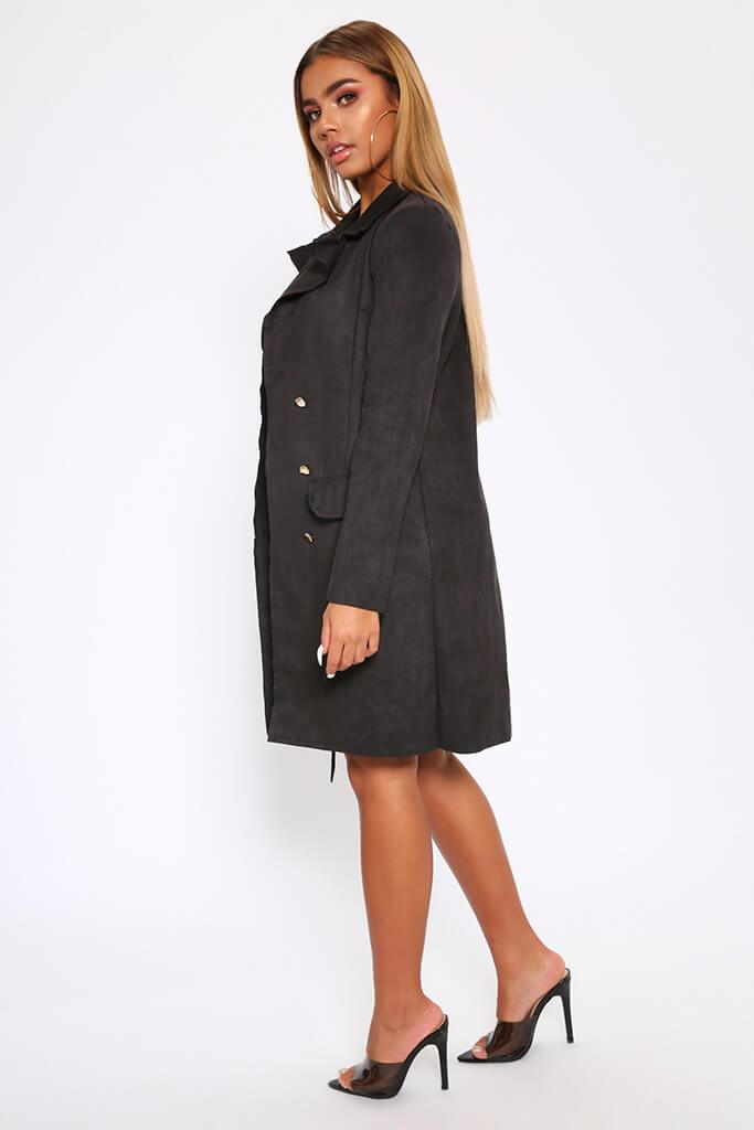 Black Double Breasted Suedette Blazer Dress view 3