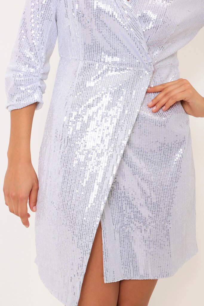 Silver Sequin Wrap Dress view 3