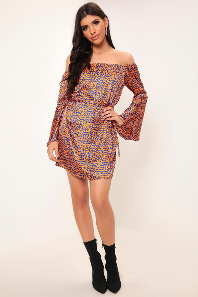 Leopard Bardot Flare Sleeve Mini Dress view 2