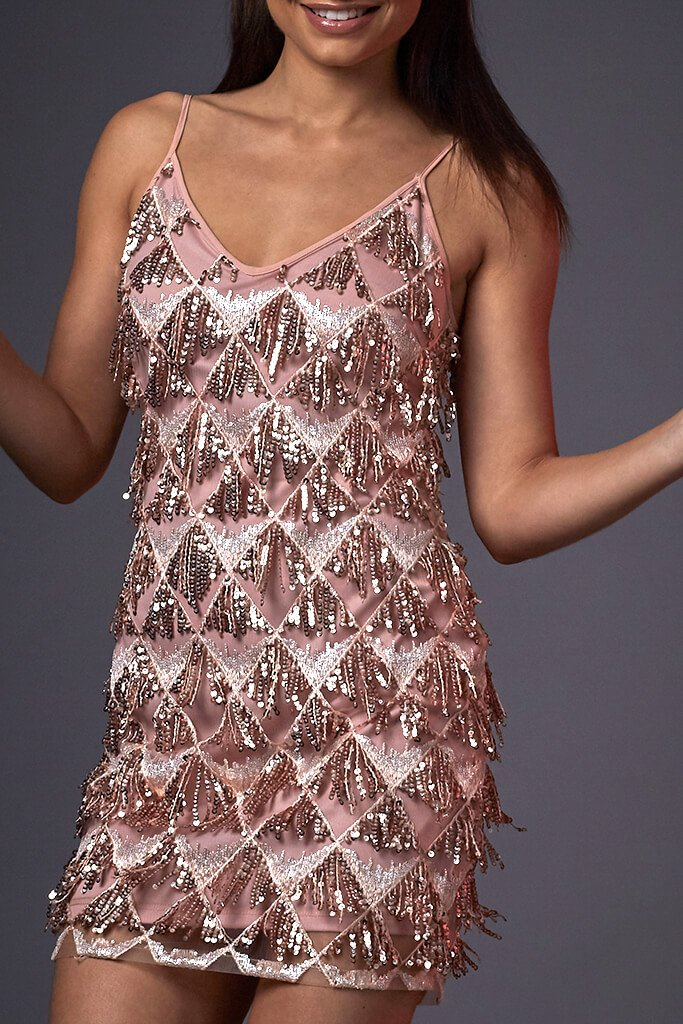 Pink Cami Sequin Tassel Dress view 3