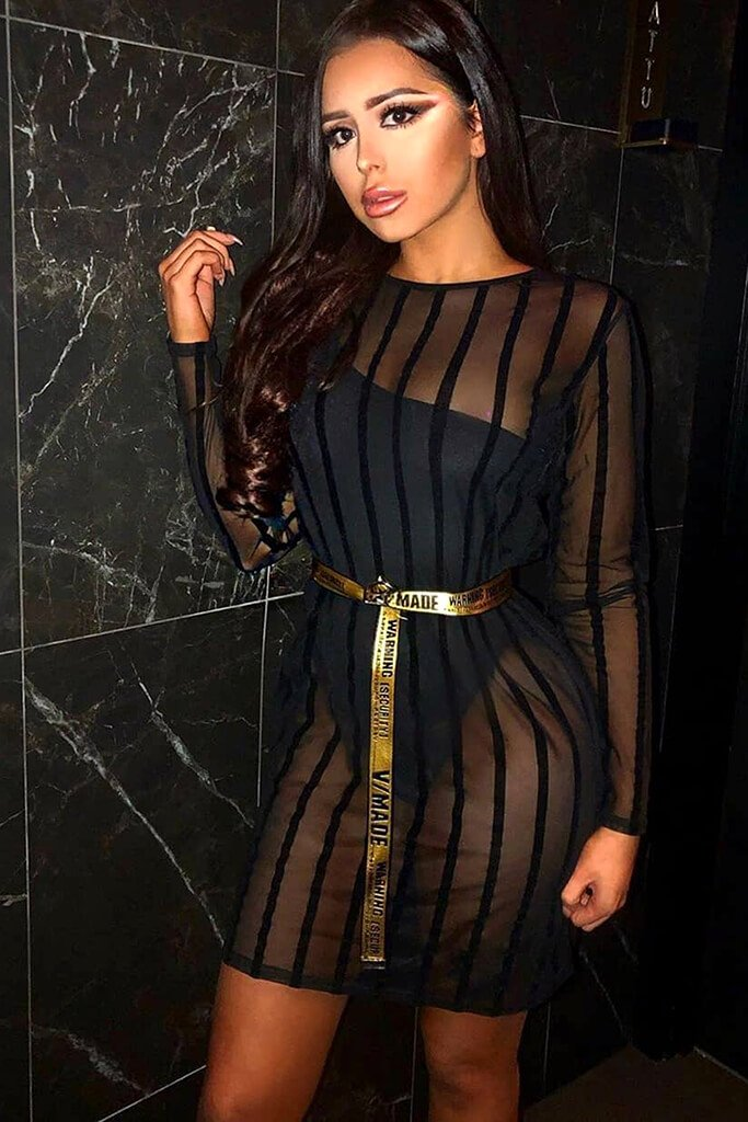 Black Stripe Flock Mesh Oversized T-Shirt Dress