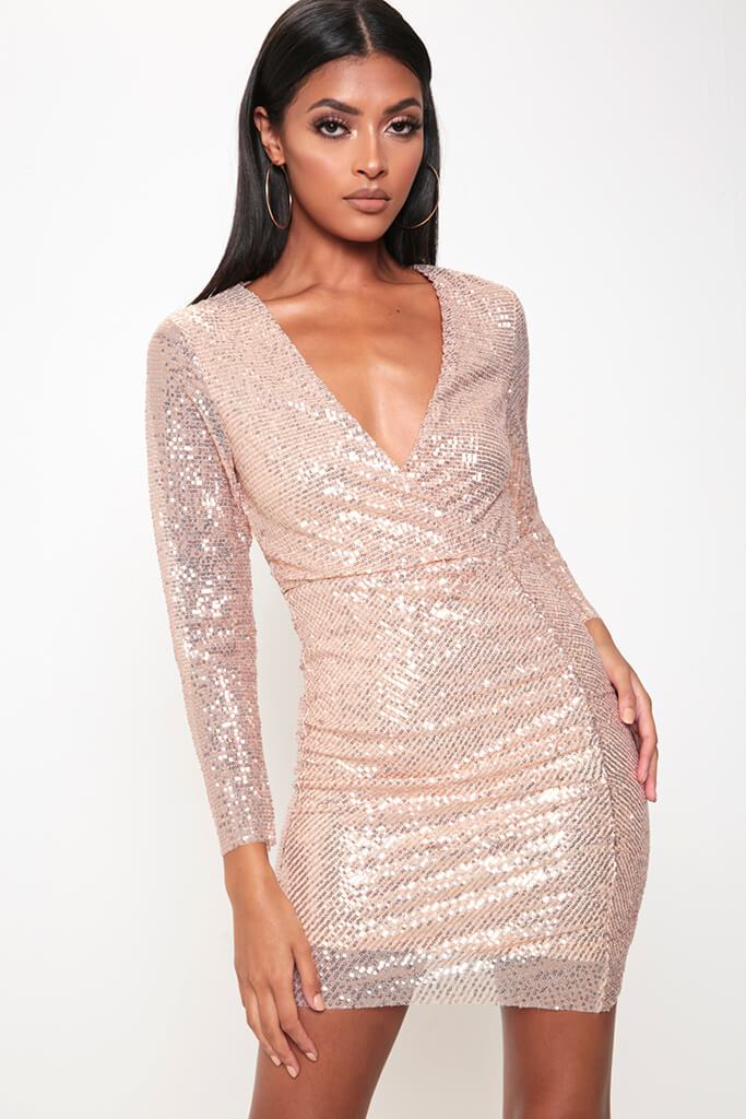 Rose Gold Sequin Long Sleeve Bodycon Dress