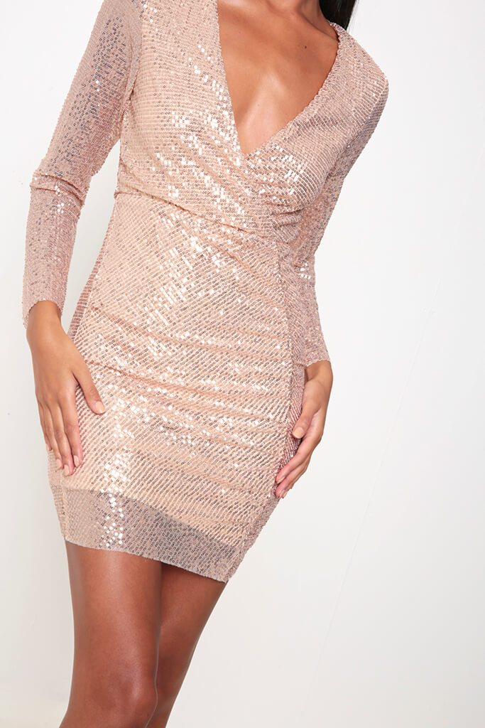 Rose Gold Sequin Long Sleeve Bodycon Dress view 4